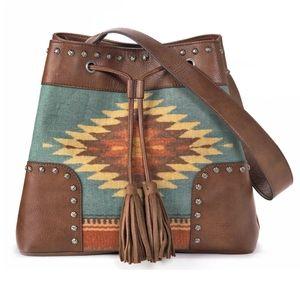 Western concealed handgun fringed bucket bag